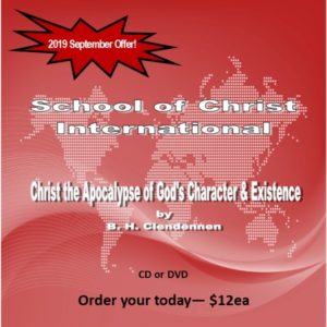 Monthly Offer, September 2019 Christ the Apocalypse of God's Character and Existence cover